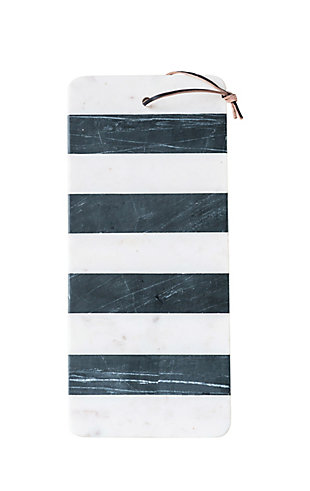 Bloomingville Black & White Striped Marble Board with Leather Tie, , large