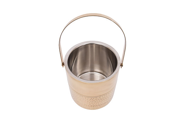 Bloomingville Round Stainless Steel Ice Bucket with Tongs (Set of 2 Pieces), , large