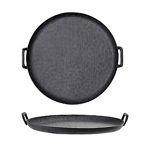Bloomingville Round Black Metal Tray with Handles, , rollover
