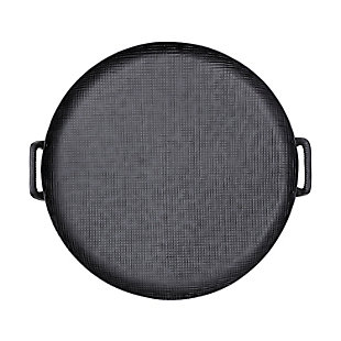 Bloomingville Round Black Metal Tray with Handles, , large