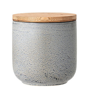 Bloomingville Small Glazed Grey Stoneware Canister with Bamboo Lid, , large