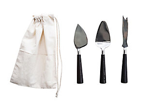 Bloomingville Silver Stainless Steel Cheese Utensils with Black Wood Handles (Set of 3 in Drawstring Bag), , large