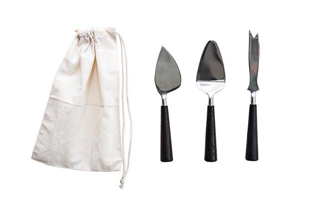 Bloomingville Silver Stainless Steel Cheese Utensils with Black Wood Handles (Set of 3 in Drawstring Bag), , large