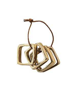 Bloomingville Brass Finished Square Metal Napkin Rings with Leather Tie (Set of 4 Pieces), , rollover
