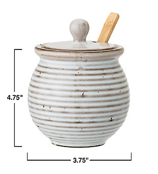 Bloomingville White Stoneware Honey Pot with Dipper & Reactive Glaze Finish (Set of 3 Pieces/Each one will vary), , rollover