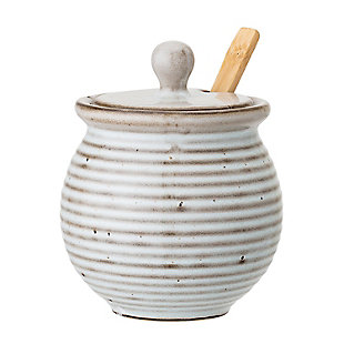 Bloomingville White Stoneware Honey Pot with Dipper & Reactive Glaze Finish (Set of 3 Pieces/Each one will vary), , large