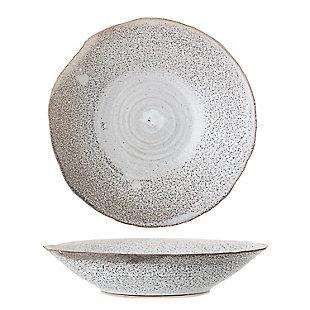 Bloomingville Handmade White Stoneware Bowl with Irregular Edge & Reactive Glaze Finish (Each one will vary), , large