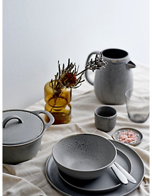 Bloomingville Matte Grey Round Stoneware Baker with Reactive Glaze Finish &  Lid (Each one will vary), , rollover