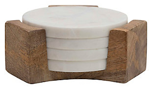 Bloomingville Round Marble Coasters with Mango Wood Holder (Set of 5 Pieces), , large