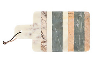 """Bloomingville 15""""L Rectangle Marble Cheese/Cutting Board with Stripes, Handle & Leather Strap, , large"""