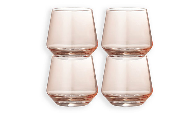 Bloomingville Blush Round Drinking Glass, Set of 4, Pink, large