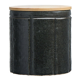 Bloomingville Black Stoneware Canister with Bamboo Lid, , large