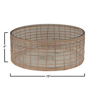 Bloomingville Woven Rattan and Glass Bowl, , rollover