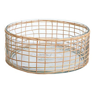 Bloomingville Woven Rattan and Glass Bowl, , large
