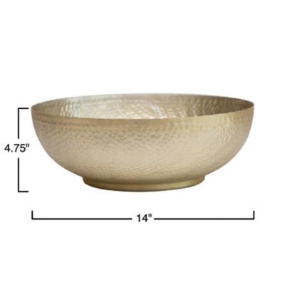 Bloomingville Gold Hammered Aluminum Bowl, , large