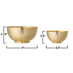 Bloomingville Gold Hammered Metal Bowls (Set of 2), , large