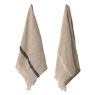 Bloomingville Woven Cotton Striped Tea Towels with Tassels (Set of 2), , rollover