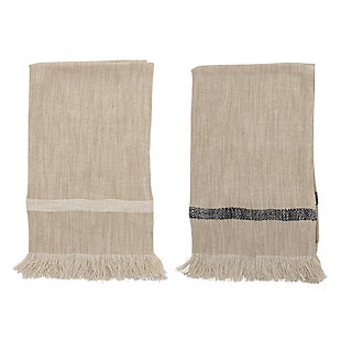 Bloomingville Woven Cotton Striped Tea Towels with Tassels (Set of 2), , large