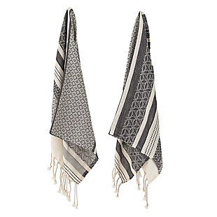 Bloomingville Black and Cream Woven Cotton Tea Towels with Tassels (Set of 2), , rollover