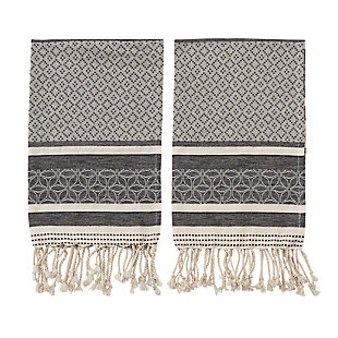 Bloomingville Black and Cream Woven Cotton Tea Towels with Tassels (Set of 2), , large