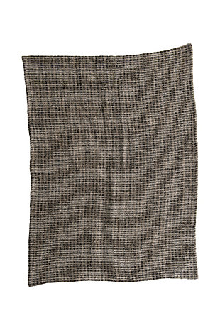 Bloomingville Natural and Black Oversized Woven Linen Tea Towel, , rollover