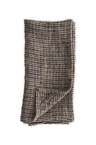 Bloomingville Natural and Black Oversized Woven Linen Tea Towel, , large