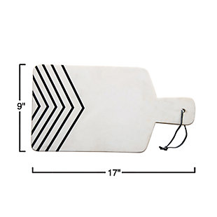 Bloomingville White and Black Chevron Marble Cheese/Cutting Board, , rollover