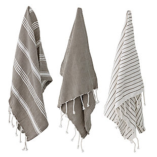 Bloomingville Woven Cotton Striped Tea Towels with Tassels (Set of 3), , rollover