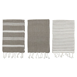 Bloomingville Woven Cotton Striped Tea Towels with Tassels (Set of 3), , large