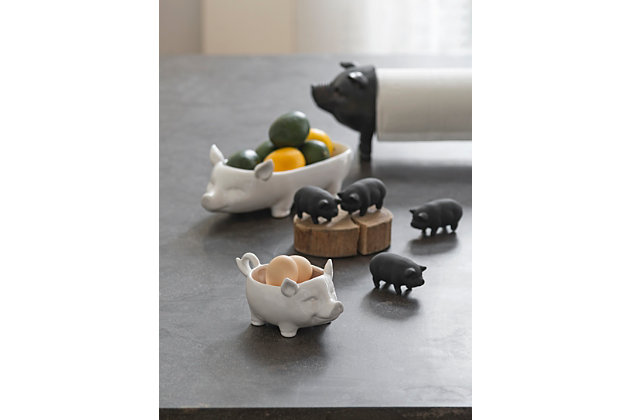 Creative Co-Op White Ceramic Pig Shaped Bowl, , large