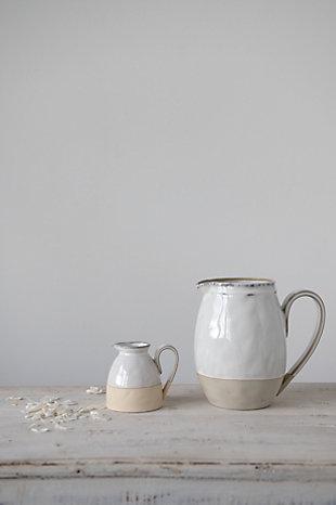 Creative Co-Op White Stoneware Pitcher, , rollover