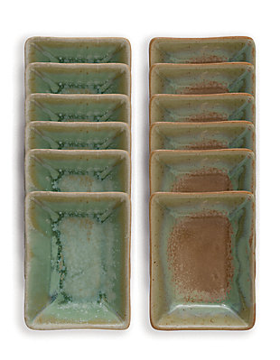 Creative Co-Op Stoneware Dish with Opal Reactive Glaze, 2 Colors, Set of 12, , large