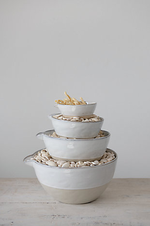 Creative Co-Op Stoneware White Batter Bowls (Set of 4), , rollover