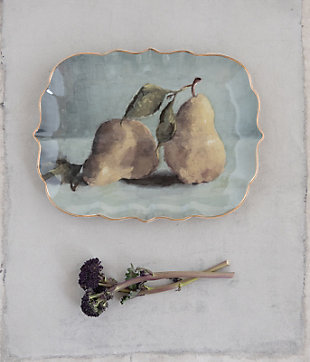 Creative Co-Op Stoneware Platter with Pear Image, , rollover