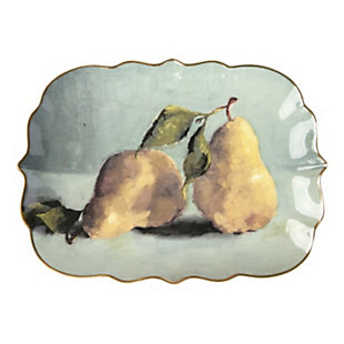 Creative Co-Op Stoneware Platter with Pear Image, , large