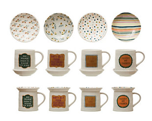 Creative Co-Op Stoneware Mug with Round Snack Plate Topper and Saying, Set of 2, 4 Styles, , large