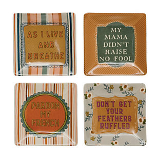 Creative Co-Op Square Stoneware Plate with Saying, Set 4 Styles, , rollover