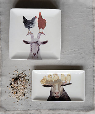 Creative Co-Op Square Stoneware Plate with Farm Animals, Set of 4 Styles, , rollover