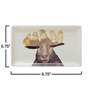 Creative Co-Op Stoneware Platter with Sheep & Chicks, Set of 4, , large