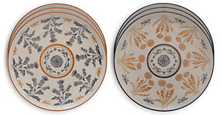 Creative Co-Op Round Stoneware Plate w/ Thistle Pattern, Set of 6, , large