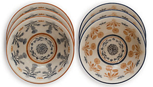 Creative Co-Op Round Stoneware Bowl with Thistle Pattern, Set of 6, , large