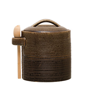 Creative Co-Op Brown Stoneware Canister with Wood Spoon, , large