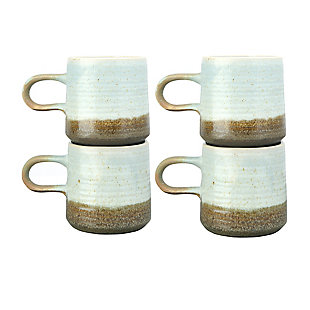 Creative Co-Op Stoneware Mug with Blue and Brown Reactive Glaze, Set of 4, , large