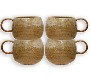 Creative Co-Op Mustard Stoneware Mug with Reactive Glaze, Set of 4, , large