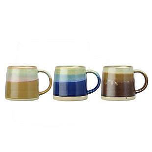Creative Co-Op Stoneware Mug, Reactive Glaze, Set of 3 Colors, Each One Will Vary, , large
