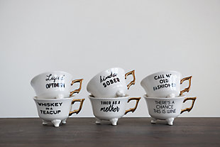 Creative Co-Op Stoneware Footed Teacup with Saying and Gold Electroplating, Set of 6 Styles, , rollover
