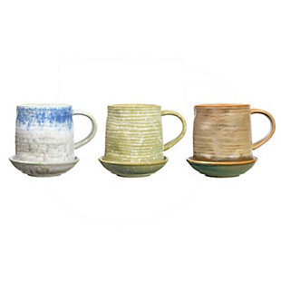 Creative Co-Op 12 oz. Stoneware Mug with Round Snack Plate Topper, Reactive Glaze, Set of 3 Colors (Each One Will Vary), , large