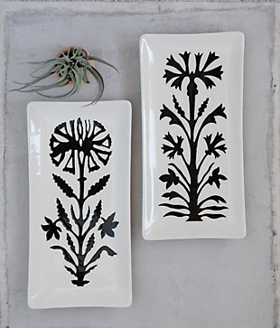 Creative Co-Op Stoneware Platter with Flower, Set of 2 Styles, , rollover
