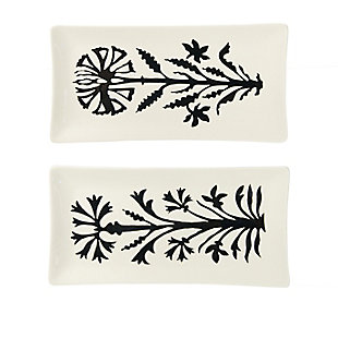 Creative Co-Op Stoneware Platter with Flower, Set of 2 Styles, , large
