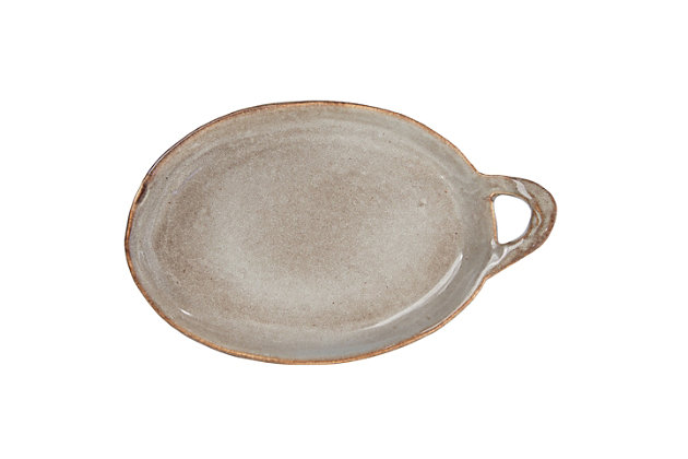Creative Co-Op Grey Stoneware Plate with Handle, , large